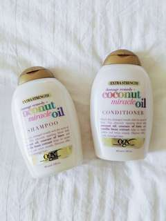 OGX extra strength damage remedy coconut miracle oil shampoo and conditioner 385ml