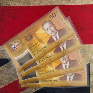 CIA 50 Singapore Brunei Commemorative Note (Identical pairs, 2 runs, UNC)
