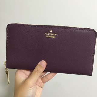 [SOLD] Kate Spade Cameron Street Lacey Long Zip Wallet Deep Plum Purple