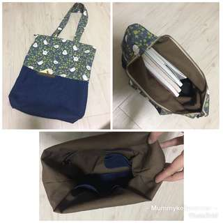 Tote bag with zipper opening