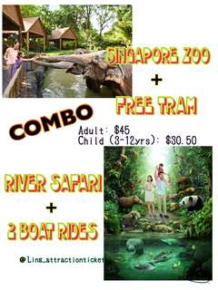 SINGAPORE ZOO & RIVER SAFARI COMBO WITH TRAM & 2 BOAT RIDES