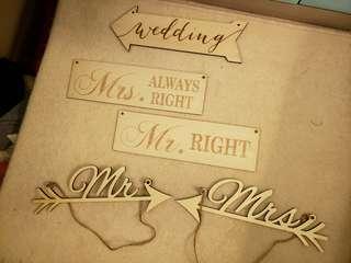 Wedding Mr & Mrs 木板 裝飾 擺設 decoration