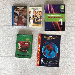 Various story and coloring books for kids