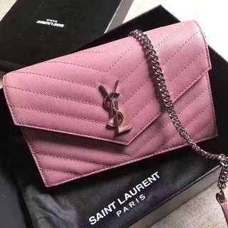 YSL Leather Chevron Pink WOC Bag