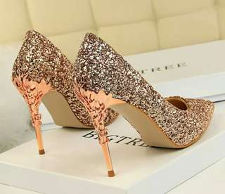 Wedding korean styles sequined porous stiletto versatile high heels