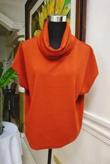 Cowl neck top color Rust and beige
