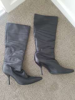 Sebastian Milano Black Soft Leather Stiletto Boots Size 35