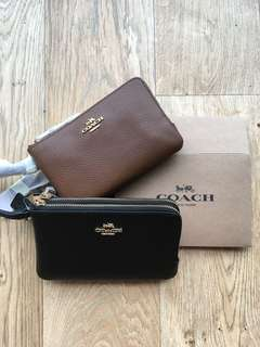 [readystock] Coach leather double wristlet