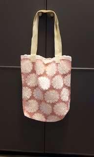 🚚 夏季大拍賣🌞全新粉色蕾絲透明刺繡購物袋