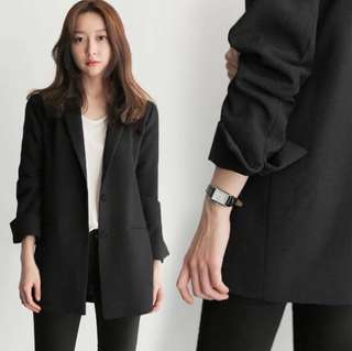 (S~2XL) 2018 suit female long section long sleeve black casual office small suit jacket