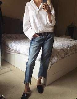 Zara Cropped denim jeans with patchwork
