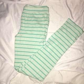 Blue Striped Leggings for Pre-teens