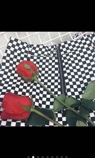 Plaided high waist skirt