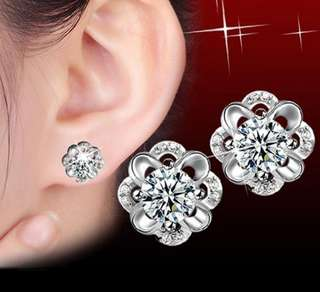 92.5 silver flower earrings