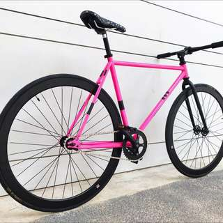 "26"" FIXIE BLACK PINK STYLISH BICYCLE Coaster Brake Fixed Gear Free Gear Flip Flop Hub 9.5 Kg Only Trispoke Aerospoke (LEFT 2 ONLY)"