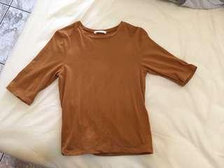 Pazzo 黃褐色圓領五分袖上衣 S