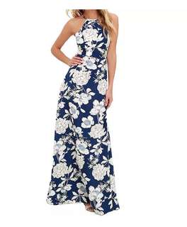 Women's Summer Floral Print Maxi Dress Halter Neck Beach Holiday Long Slip Dress in blue 💙  [PO]