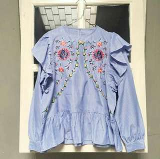Embroidery Stripes Flower Floral Blue White Bordir Embroidered Shirt Kemaja