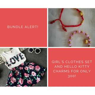 Girl's Clothes Set + Hello Kitty Charms