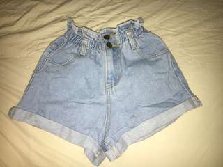 High waisted denim paper bag shorts