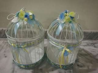 White bird cages (with decorations)