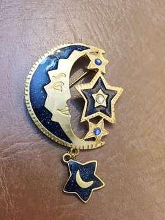 來自美國的古董Newpro琺瑯星星月亮胸針