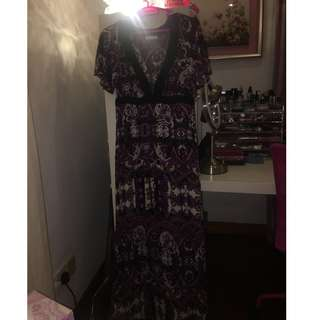 Long Purple and Black Colorful Beach/Summer Dress by Promod  Size UK 10 Very Cheap