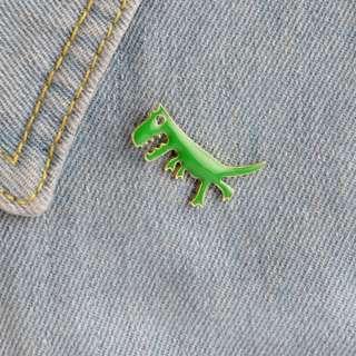 #187 green dinosaur tumblr enamel pin | po