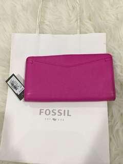 Fossil hot pink caroline wallet purse