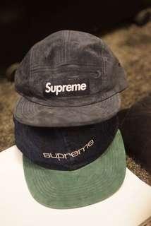 Supreme  suede Camp cap (ss18 week 9 ) blue