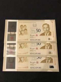SG50 Commemorative $50 With 3 Run