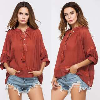Plus Size tassel collar sleeves loose jacket cotton linen shirt