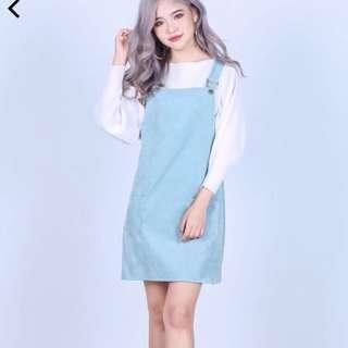 Pastel Touquise Dungaree Dress/Pinafore
