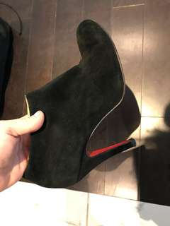 Christian Louboutin black suede booties 38