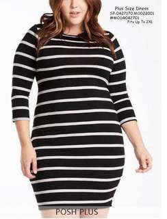 PLUS SIZE DRESS 💋Stripe Long Sleeve Dress Blouse 💫Cotton fabric, soft stretch 💫Free size fits up to XXL 💫Single color 💫Nice quality