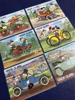 (最後五套)靚!尤寧島 外國迪士尼郵票 交通工具系列 米奇唐老鴨 Disney Donald Duck
