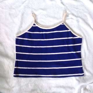 Striped sleeveless cropped top