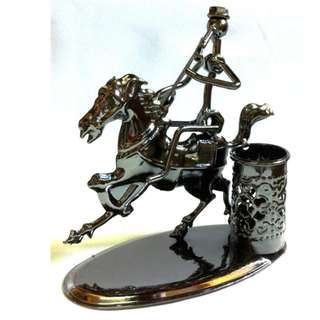 Metal Pen Holder horse rider shape
