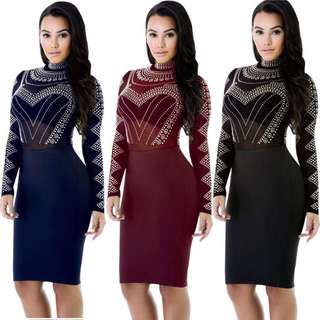 XS small medium large Xlarge red black maroon blue cocktail Bodycon Sexy Club Party Midi Dress