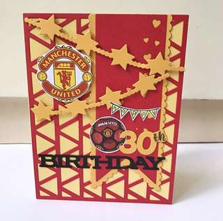 Happy 30th Manchester United football soccer Handmade Card