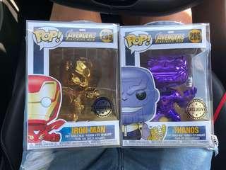 Avengers Infinity War Chrome Funko Pop Iron Man Thanos