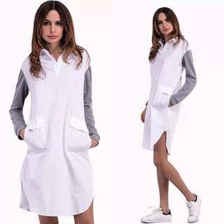 European shirt collar stitching sweater sleeve dress