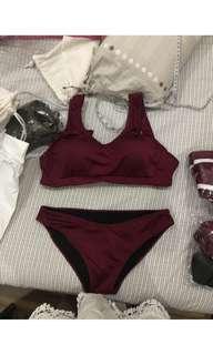 Maroon two piece swimwear