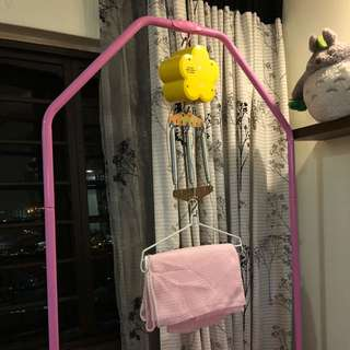 Baby spring cot with full frame (Pink)
