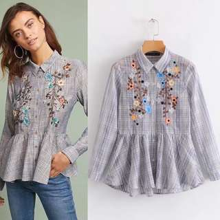 Europe and the United States foreign trade 2018 spring section lattice embroidered jacket blouse