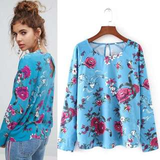 European pastoral flowers and birds animal print blouse