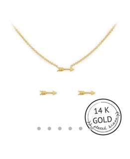 Arrow charm set - Gold necklace & earrings