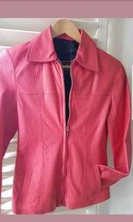 Leather jacket pink Au 8 EUC
