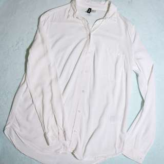 H&M White Polo Blouse Shirt Top REPRICED!!