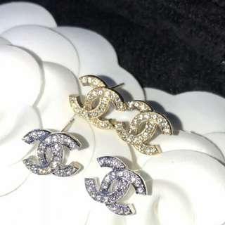 Chanel新款耳飾經典雙C水鑽耳釘明星同款MINI耳環